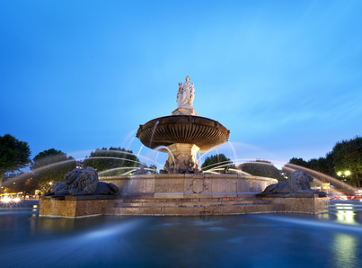 Nightshot of La Rotonde fountain - The central roundabout in Aix